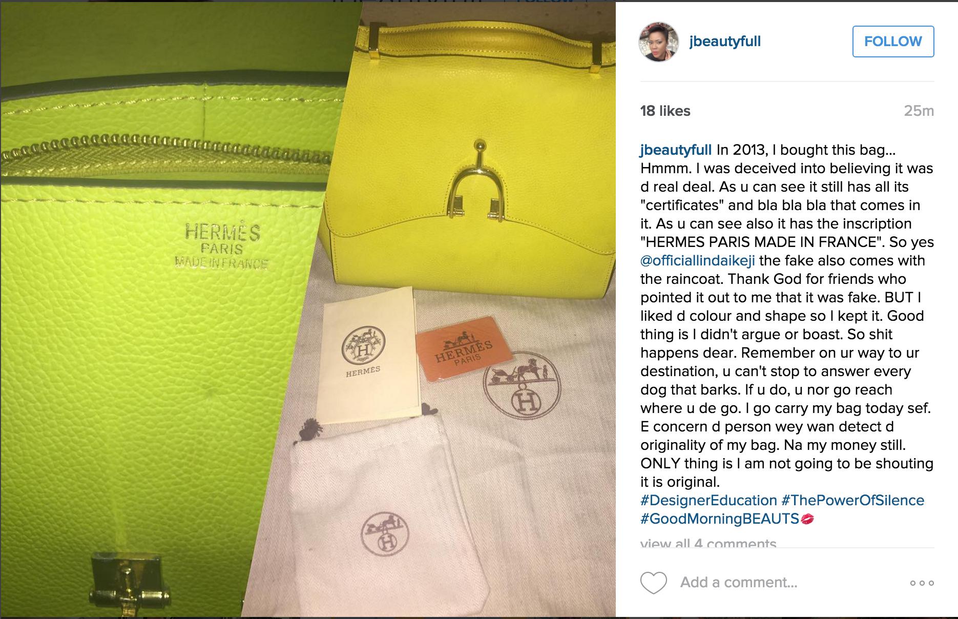 eacc5e140faf How to Spot A Fake Hermes Bag – The Linda Ikeji Example